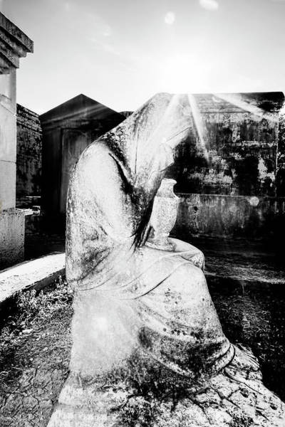 Photograph - Statue Of Weeping Woman, Lafayette Cemetery, New Orleans In Black And White by Kay Brewer