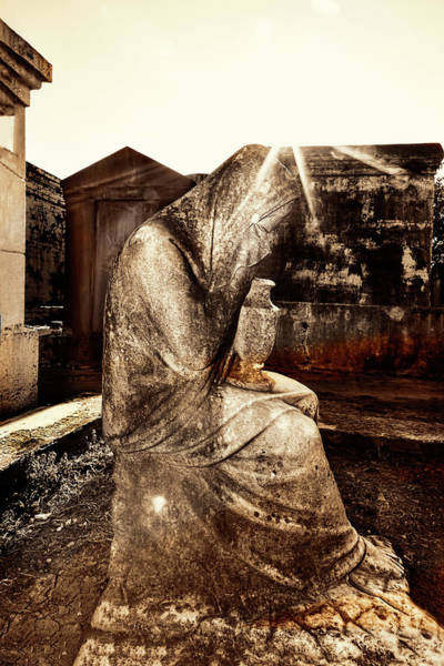 Photograph - Statue Of Weeping Woman, Lafayette Cemetery, New Orleans, In Monotones by Kay Brewer