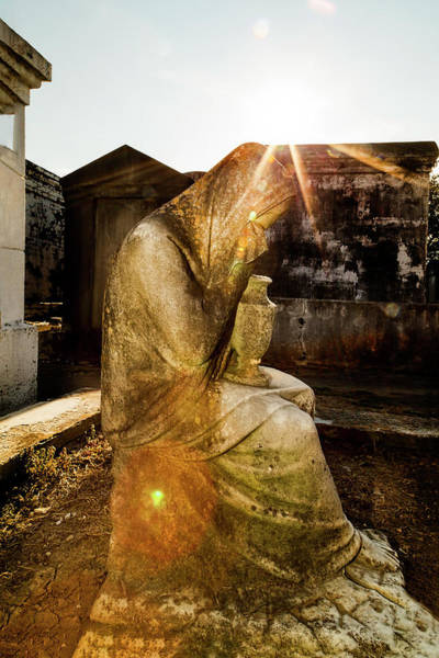 Photograph - Statue Of Weeping Woman, New Orleans Lafayette Cemetery by Kay Brewer