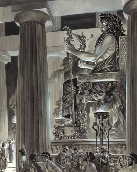 Carving Painting - Statue Of Zeus At Olympia by Peter Jackson