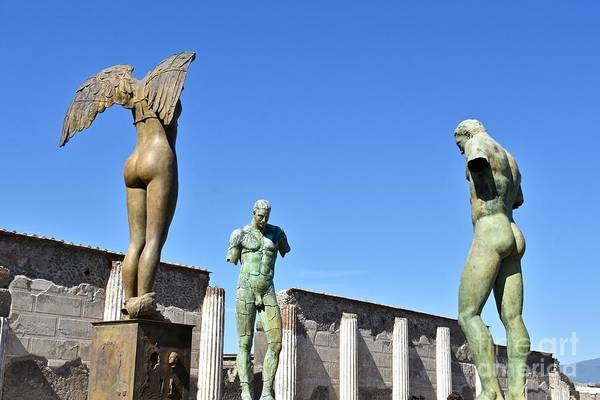 Wall Art - Photograph - Statues At Ancient Pompeii Ruins by Jeramey Lende