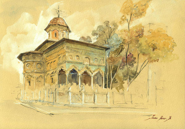 Churches Painting - Stavropoleos Church by Juan  Bosco