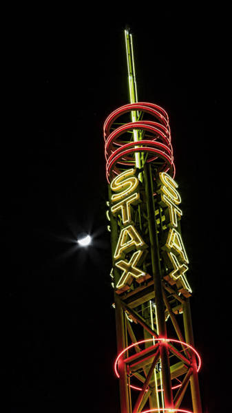 Wall Art - Photograph - Stax Records Tower And Moon by Stephen Stookey