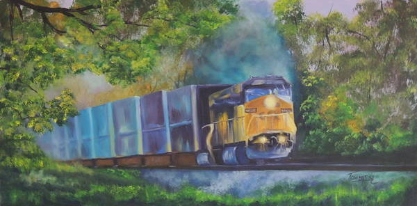 Diesel Trains Painting - Stayin' On Track by Connie Townsend