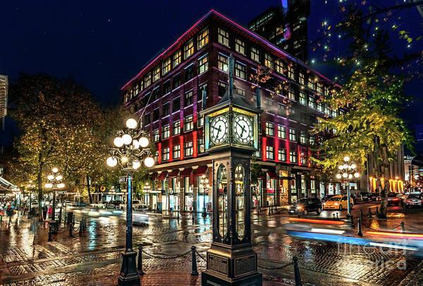 Evening Wall Art - Photograph - Steam Clock. History Of Vancouver. by Viktor Birkus