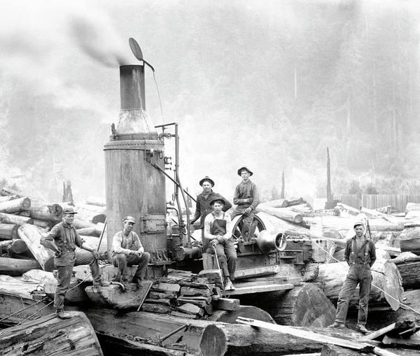 Wall Art - Photograph - Steam Donkey Power Logging C. 1880 by Daniel Hagerman