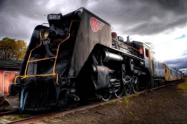 Freight Trains Painting - Steam Engine by Anthony Seebaran