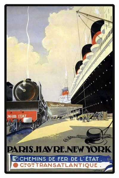 Retro Paris Painting - Steam Engine Locomotive And Steamliner Ship - Transatlantic - Paris, Le Havre, New York  by Studio Grafiikka
