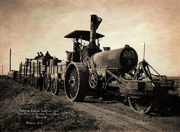 Wall Art - Photograph - Steam Engine Tractor Train  1908 by Daniel Hagerman