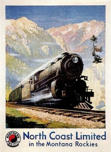 Vintage Train Painting - Steam Engine Train Through The Montana Rockies - Vintage Illustrated Poster by Studio Grafiikka