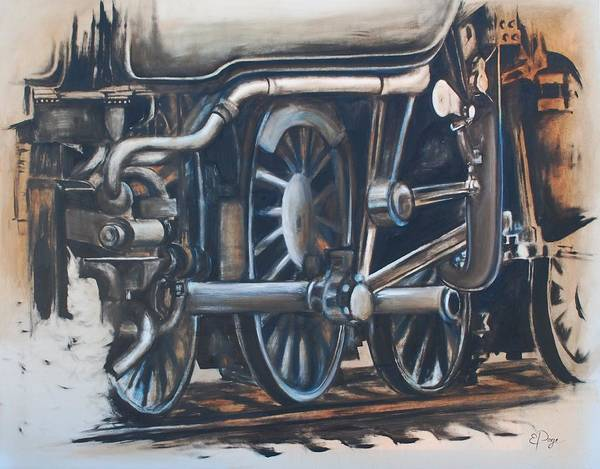 Painting - Steam Engine Wheels by Emily Page