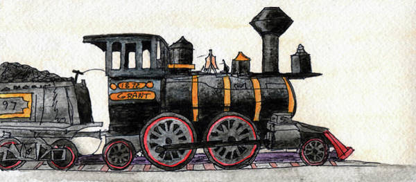 Model Trains Painting - Steam Locomotive by R Kyllo