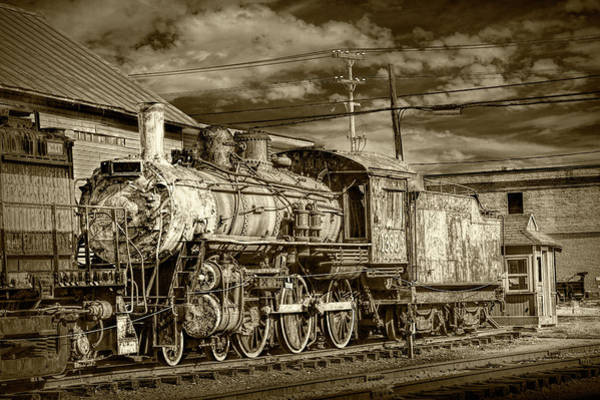 Photograph - Steam Locomotive Train Engine No.1395  In Sepia Tone by Randall Nyhof