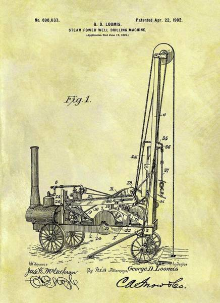 Petroleum Drawing - Steam Powered Oil Well Patent by Dan Sproul