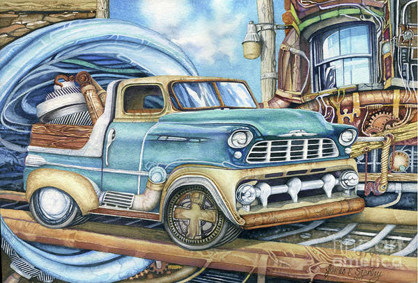 Punk Painting - Steam Punk Truckin by James Stanley