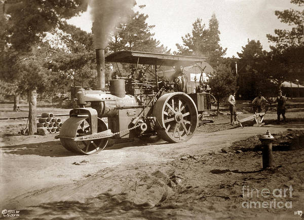 Photograph - Steam Roller, Horizontal Boiler Type, Carme, Calif. L 1922 by California Views Archives Mr Pat Hathaway Archives