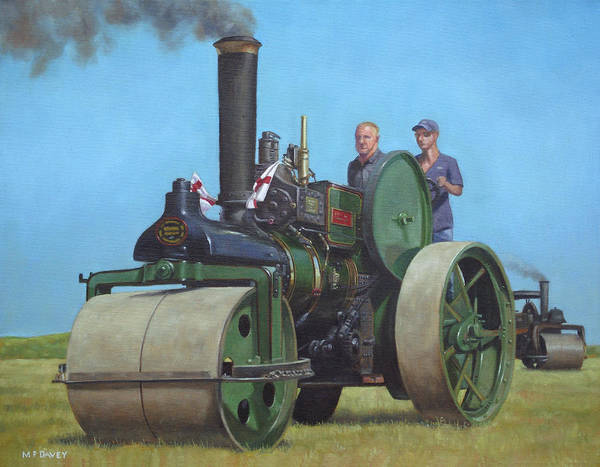 Painting - Steam Roller Traction Engine by Martin Davey