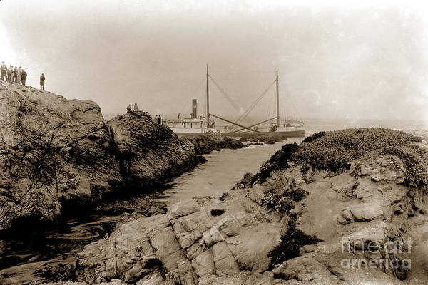 Photograph - Steam Schooner S S J. B. Stetson, Ran Aground At Cypress Point, Sep. 1934 by California Views Archives Mr Pat Hathaway Archives