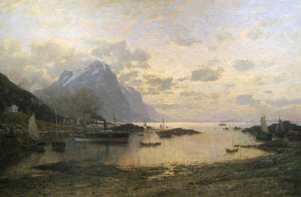 Norwegian Painting - Steam Ship Port Calls In The Lofoten Islands by Adelsteen Normann