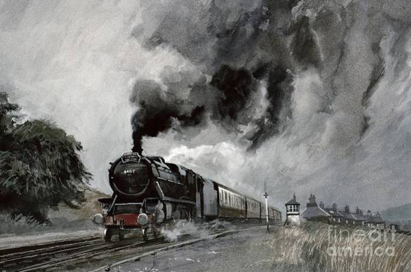 Rail Painting - Steam Train At Garsdale - Cumbria by John Cooke