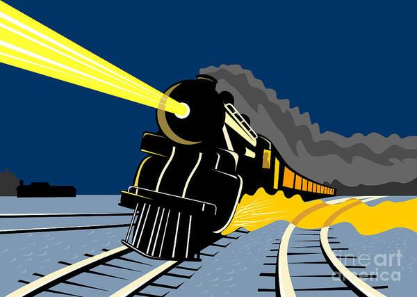 Train Tracks Digital Art - Steam Train Night by Aloysius Patrimonio