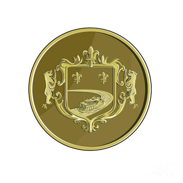 Fleur Digital Art - Steamboat Fleur De Lis Coat Of Arms Medal Retro by Aloysius Patrimonio