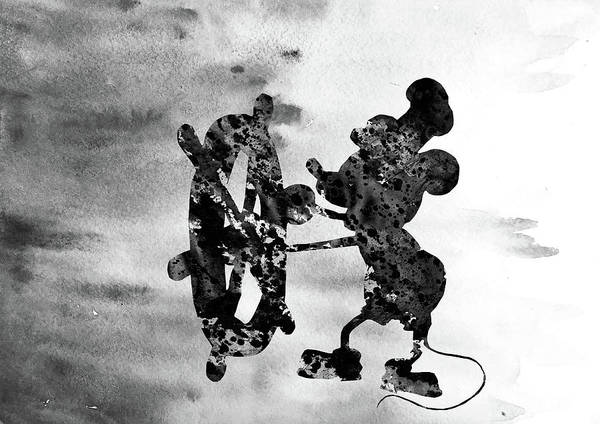 Wall Art - Digital Art - Steamboat Willie-black by Erzebet S