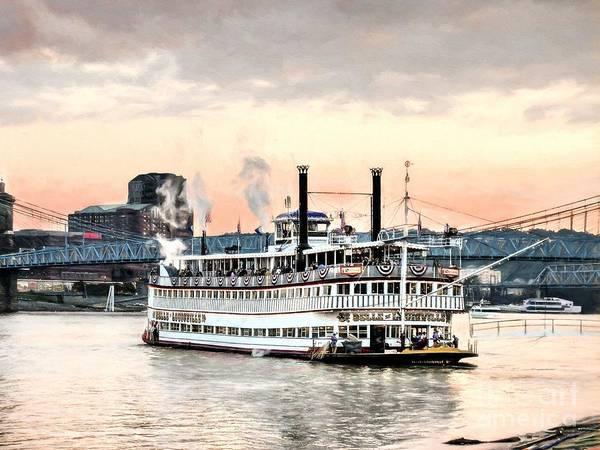 Photograph - Steamboats At Cincinnati by Mel Steinhauer
