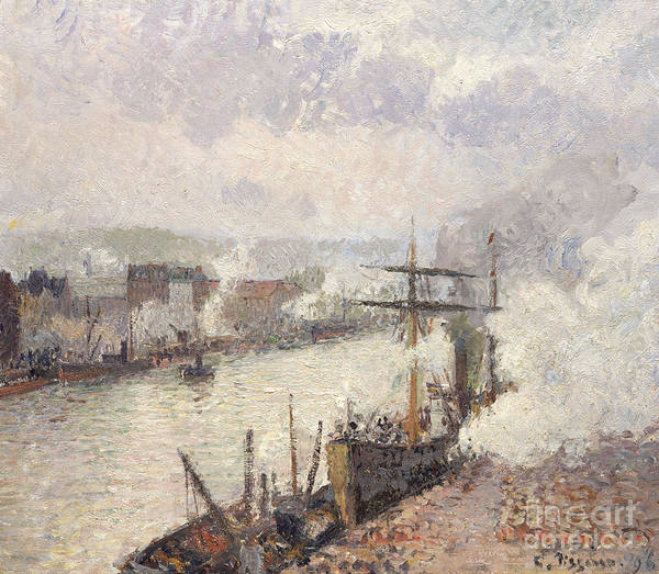 Wall Art - Painting - Steamboats In The Port Of Rouen, 1896  by Camille Pissarro
