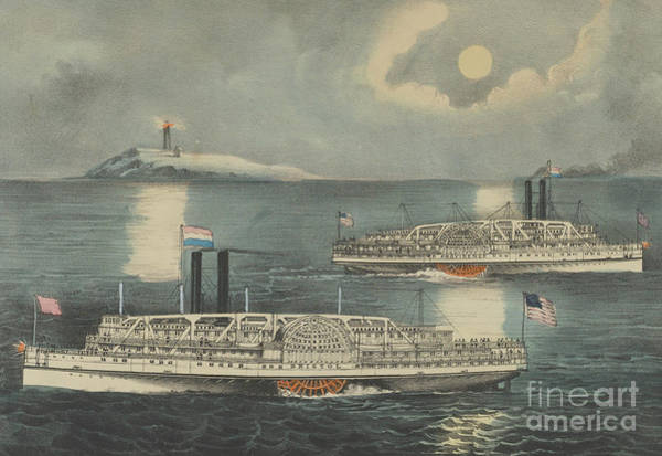 Currier And Ives Painting - Steamboats Passing At Midnight On Long Island Sound by Currier and Ives