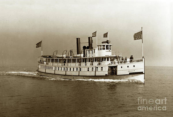 Photograph - Steamer Arrow On San Francisco Bay 1905 by California Views Archives Mr Pat Hathaway Archives