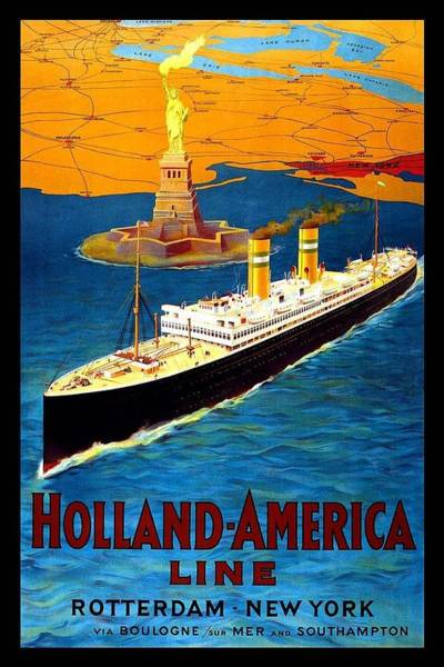 Kunst Painting - Steamer Ship With Statue Of Liberty In Backdrop - Vintage Travel Poster For Holland-america Line by Studio Grafiikka