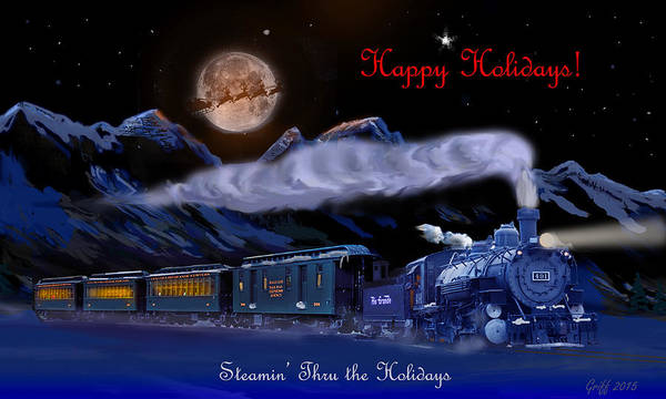 Rockies Digital Art - Steamin' Through The Holidays Christmas Card by J Griff Griffin