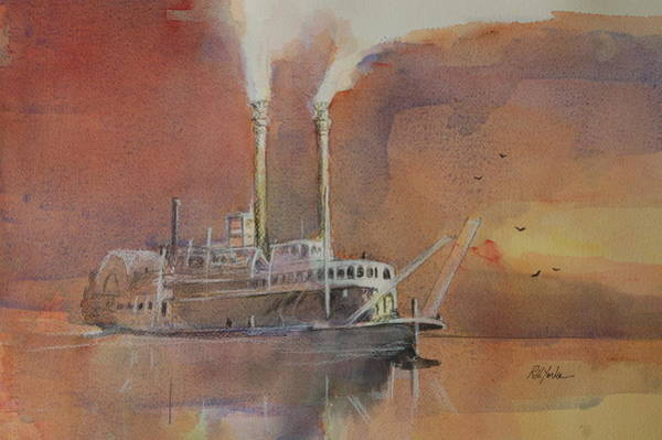 Riverboat Painting - Steaming Up by Robert Yonke
