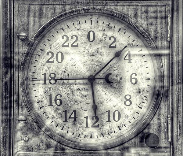 Photograph - Steampunk - 24 Hour Antique Clock Cinematic Black And White by Marianna Mills