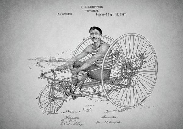 Punk Drawing - Steampunk Bicycle Patent by Dan Sproul