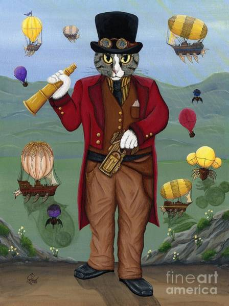 Steampunk Cat Guy - Victorian Cat Art Print