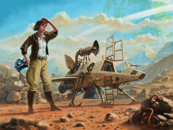 Digital Art - Steampunk Girl With Spaceship by Martin Davey