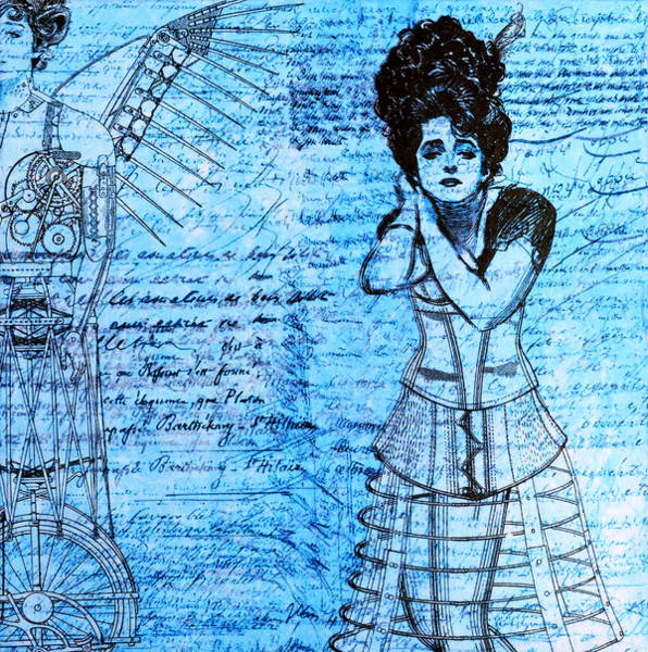 Wall Art - Mixed Media - Steampunk Girls In Blues by Nikki Marie Smith