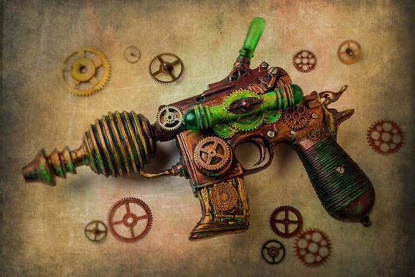 Antique Firearms Wall Art - Photograph - Steampunk Gun And Gears by Garry Gay