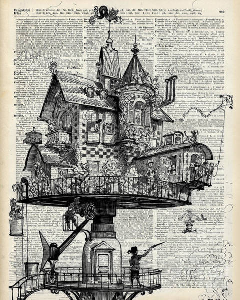 Punk Drawing - Steampunk House by Anna W