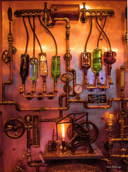 Photograph - Steampunk Interior Design 3 Liquor Wall Dispenser Atlanta Mancave Bar Art by Reid Callaway