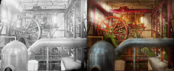 Photograph - Steampunk - Pump - Wheel Of Progress 1906 - Side By Side by Mike Savad
