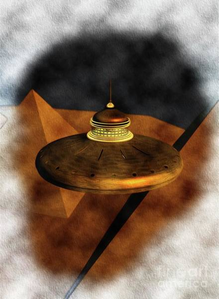 Wall Art - Painting - Steampunk Ufo In Ancient Egypt by Raphael Terra