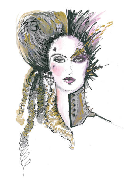 Punk Painting - Steampunk Watercolor Fashion Illustration by Marian Voicu