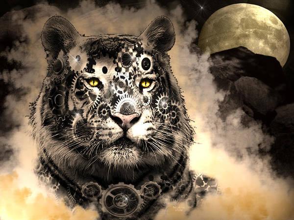 Digital Art - Steampunk Wildcat by Artful Oasis