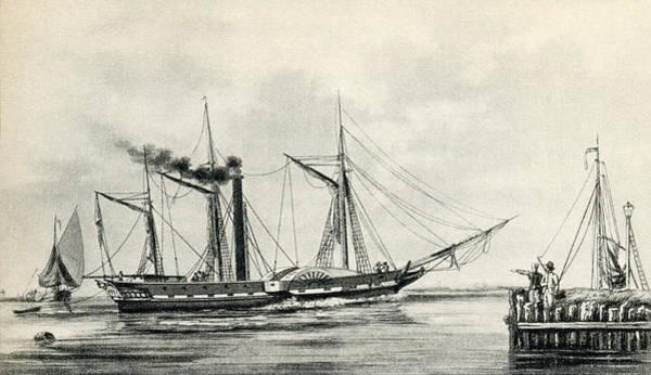 Atlantic Ocean Drawing - Steamship Cura by Vintage Design Pics