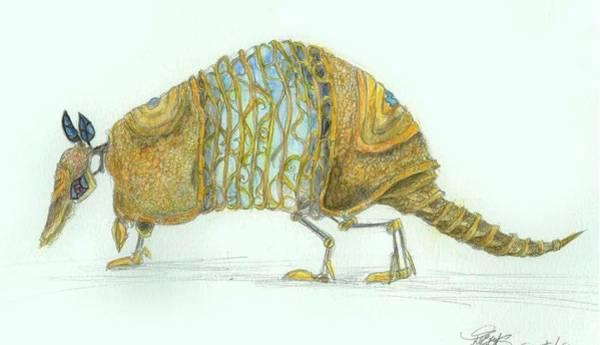 Nine-banded Armadillo Drawing - Steamus Dasypus Novemcinctus by Alana  Schmitt