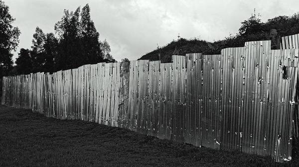 Kigali Wall Art - Photograph - Steel Fence, Rwanda 2009 by Chris Honeyman