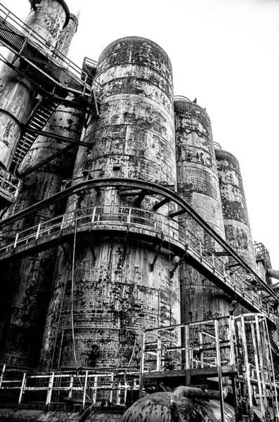 Photograph - Steel Mill - Bethlehem Pennsylvania In Black And White by Bill Cannon